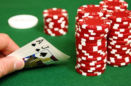 Poker hand cards gambling chips table