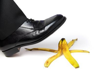 banana skin business stress walking on slippy ground